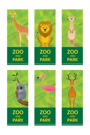 Wild Animals in Jungle, Banner, Ticket, Giraffe, Lion, Meerkat, Koala Bear, Pink Flamingo and Deer