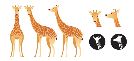 Giraffe Vector Set, Front View, Side View, Silhouette