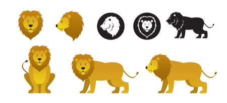 Lion Vector Set, Front View, Side View, Silhouette