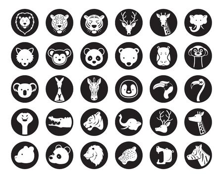Wild Animals Head Vector Silhouette Set, Zoo, Safari, Icons and Symbols