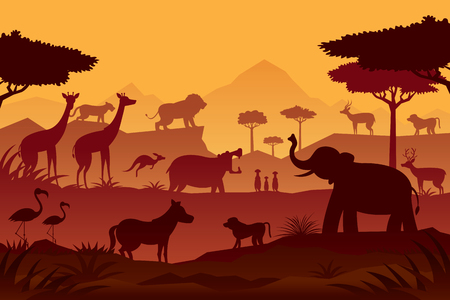 Animals and Wildlife Sunrise or Sunset Background, Silhouette, Nature, Zoo and Safari Vectores