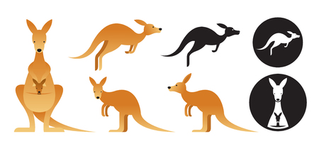 Kangaroo Vector Set, Front View, Side View, Silhouette Vectores