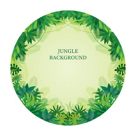 Tropical Jungle Round Frame, Forrest, Plant and Nature, Background Illustration