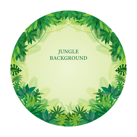 Tropical Jungle Round Frame, Forrest, Plant and Nature, Background Vettoriali