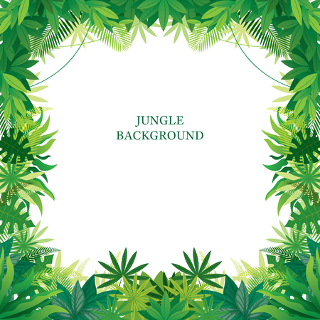 Tropical Jungle Frame, Forrest, Plant and Nature, Background Stock Illustratie