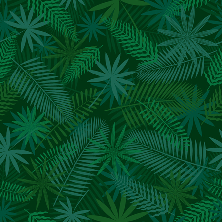 Tropical Jungle Seamless Pattern Background, Forrest, Rainforest, Plant and Nature Illustration