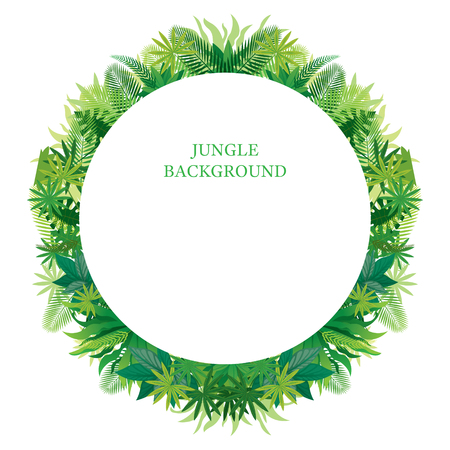 Tropical Jungle Round Frame, Forrest, Plant and Nature, Background Stock Vector - 114881335