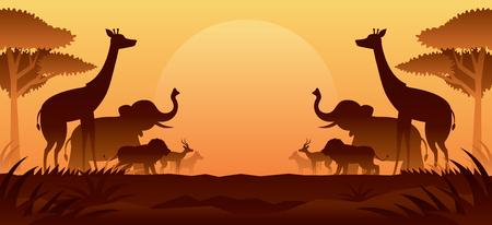 African Safari Animals Silhouette sfondo, tramonto o alba, paesaggio naturale
