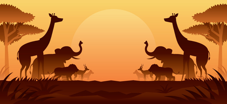 Afrikanische Safari-Tiere Silhouette Hintergrund, Sonnenuntergang oder Sonnenaufgang, Naturlandschaft