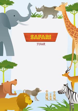 African Safari Animals Frame, Cute Animals, Nature and Wildlife Stock Vector - 114881344