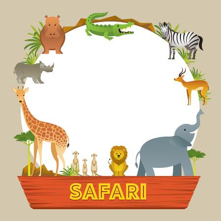 Groep Afrikaanse Safari Dieren Frame, Schattige Dieren, Natuur en Wildlife Vector Illustratie