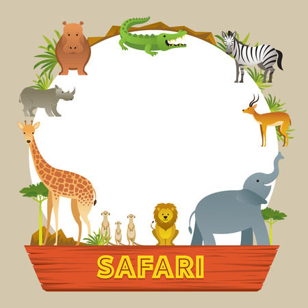 Group of African Safari Animals Frame, Cute Animals, Nature and Wildlife Ilustração