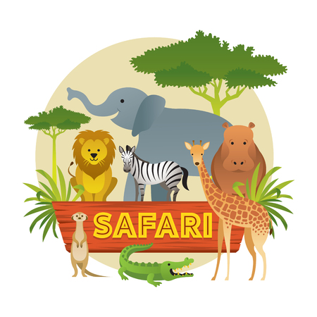 Group of African Safari Animals, Cute Animals, Nature and Wildlife Stock Vector - 114881347