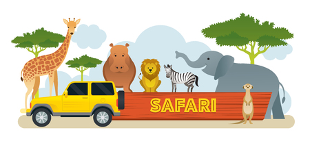 African Safari Animals and Tour Vehicle , Cute Animals, Nature and Wildlife Stock Vector - 114881348