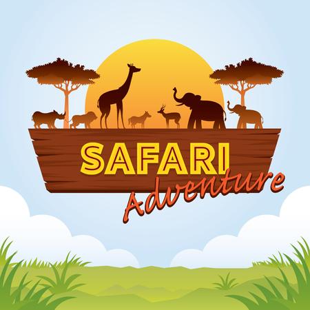 Signo de aventura de safari africano con silueta de animales, naturaleza y vida silvestre