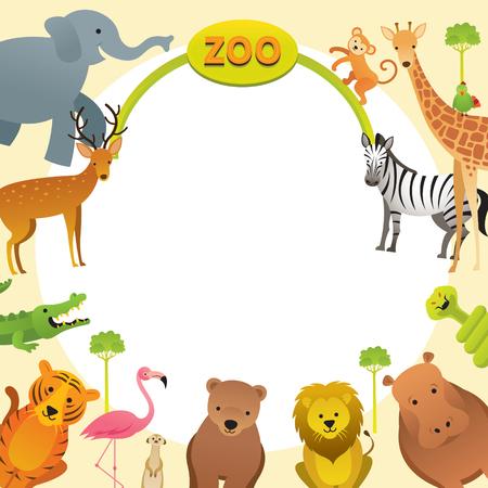 Gruppe von Wildtieren, Zoo, Rahmen, Eingangsschild, Kinder und niedlicher Cartoon-Stil