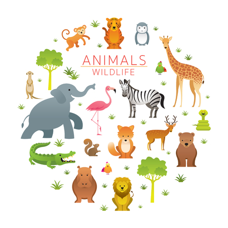 Group of Wild Animals, Zoo, Entrance Sign, Kids and Cute Cartoon Style Stock Vector - 114881351