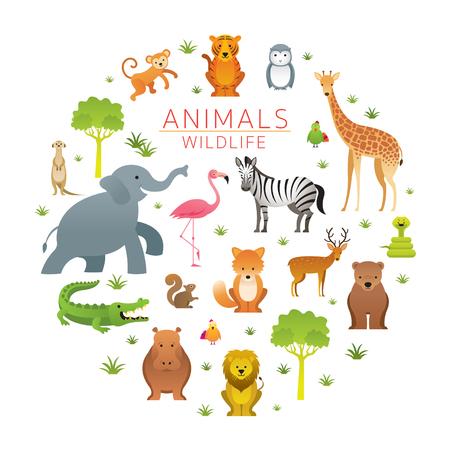 Grupo de animales salvajes, zoológico, letrero de entrada, niños y estilo de dibujos animados lindo