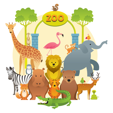 Group of Wild Animals, Zoo, Kids and Cute Cartoon Style Stock Vector - 114881352