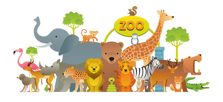 Groupe d'animaux sauvages, zoo, panneau d'entrée, enfants et style de dessin animé mignon