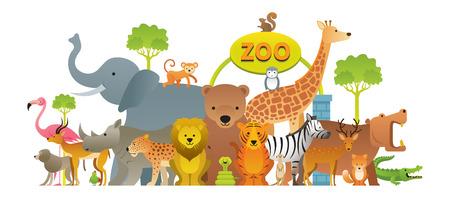 Gruppe von wilden Tieren, Zoo, Eingangsschild, Kinder und niedlichen Cartoon-Stil