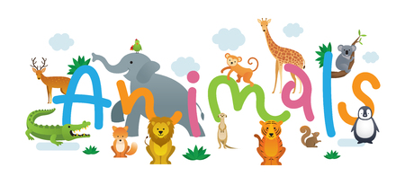 Group of Wild Animals, Zoo, Kids and Cute Cartoon Style Illustration
