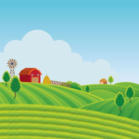 Fattoria sulla collina con sfondo verde campo, agricoltura, coltivare, campagna, campo, rurale