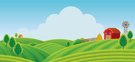 Fattoria sulla collina con sfondo verde campo, agricoltura, coltivare, campagna, campo, rurale Vettoriali