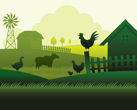 Farm with Animals Silhouette Background, Agriculture, Cultivate, Countryside, Field, Rural