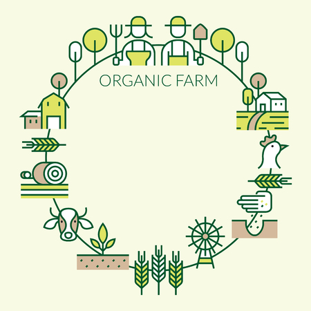 Farm and Agriculture Line Icons Round Frame, Farmers, Plantation, Gardening, Animals, Objects