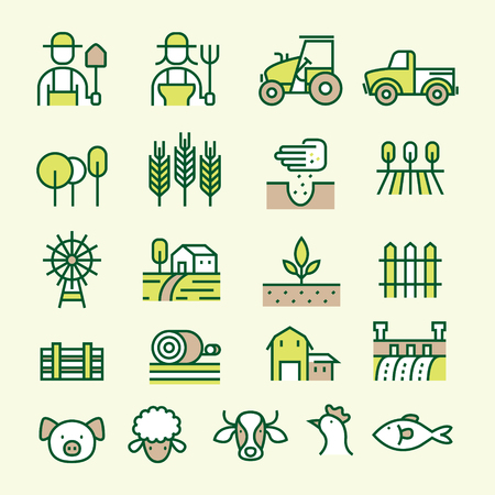 Farm and Agriculture Line Icons Set, Farmers, Plantation, Gardening, Animals, Objects Illustration