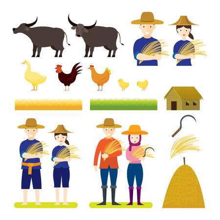 Granjero tailandés con conjunto de animales, personajes y objetos, producto de arroz