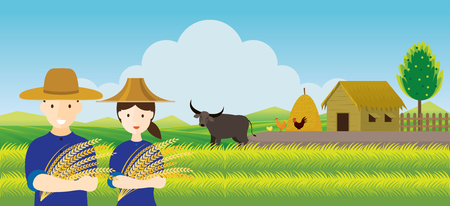 Thai Farmer with Rice and Paddy Field Background, Thailand Occupation and Countryside Scene Illusztráció