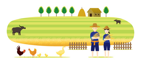 Thai Farmer with Rice and Paddy Field Background, Thailand Occupation and Countryside Scene Vector Illustration