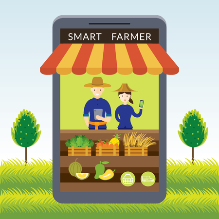 Thailand Smart Farmer with Online Shop or Store Concept, Modern Agriculture and Market, Internet of Things Ilustracja