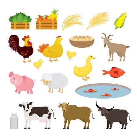 Cute Farm Animals Cartoon Set, Farming, Farmland, Agriculture Product Illustration