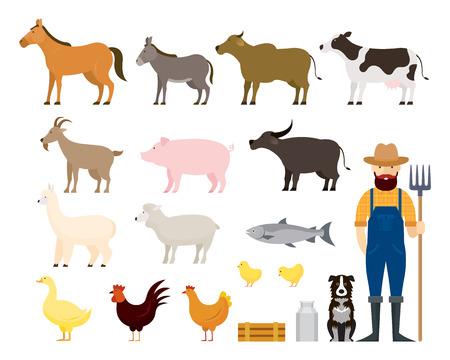 Farm Animals Set with Farmer and Dog, Farming, Farmland, Agriculture Product Illustration