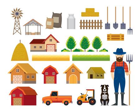 Farm Objects, Farmer with Dog Flat Set, Farming, Agriculture, Cultivate and Farmland