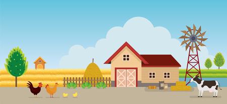 Fattoria con animali sullo sfondo del paesaggio, agricoltura, coltivare, campagna, campo, rurale