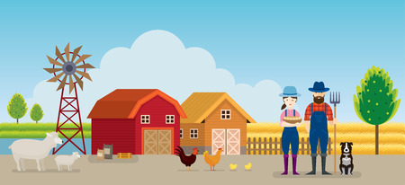 Farmer and Farm with Animals Landscape Background, Agriculture, Cultivate, Countryside, Field, Rural Illustration