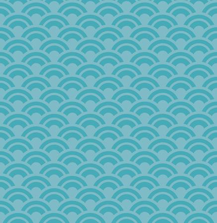Blue Wave Seamless Pattern, Design Elements, Asian Traditional Design Иллюстрация
