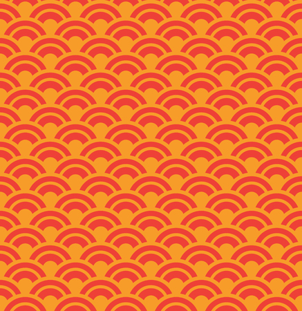 Red Wave Seamless Pattern, Design Elements, Asian Traditional Design