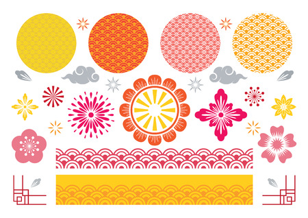 Chinese and Japanese Traditional Design Elements Set, Flowers, Pattern Background, Sign, Border and Frame