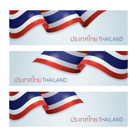 Flags of Thailand Banner, Blowing, Fluttering, Vector Illustration, Background, Ilustrace