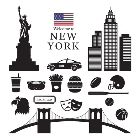 New York Landmarks Objects Silhouette, United States of America, USA, Travel and Tourist Attraction