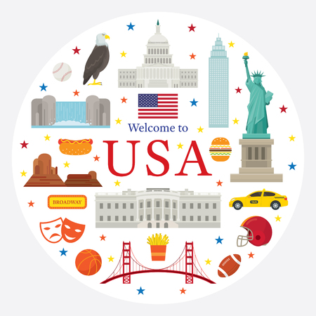 United States of America, USA, Objects Label, Landmarks, Travel and Tourist Attraction