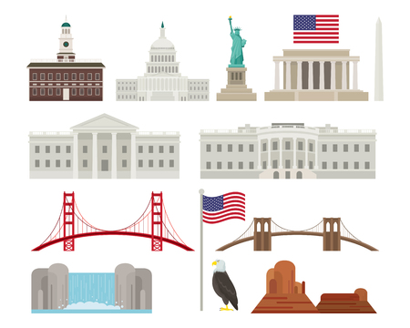 United States of America, USA, Objects, Landmarks, Travel and Tourist Attraction Illustration
