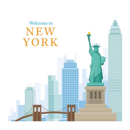 New York Landmarks and Skyscraper, Statue of Liberty, Brooklyn Bridge, Travel and Tourist Attraction