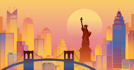 New York Colourful Background, Urban Skyline, Statue of Liberty, Brooklyn Bridge, Travel and Tourist Attraction
