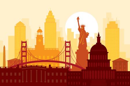 United States of America, USA, Landmarks, Urban Skyline, Cityscape, Travel and Tourist Attraction Illustration